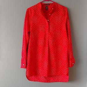 Lauren by Ralph Lauren Collarless Shirt Blouse Red